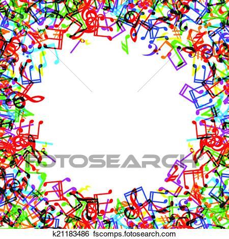 450x470 Clip Art Of Music Notes Border Frame K21183486