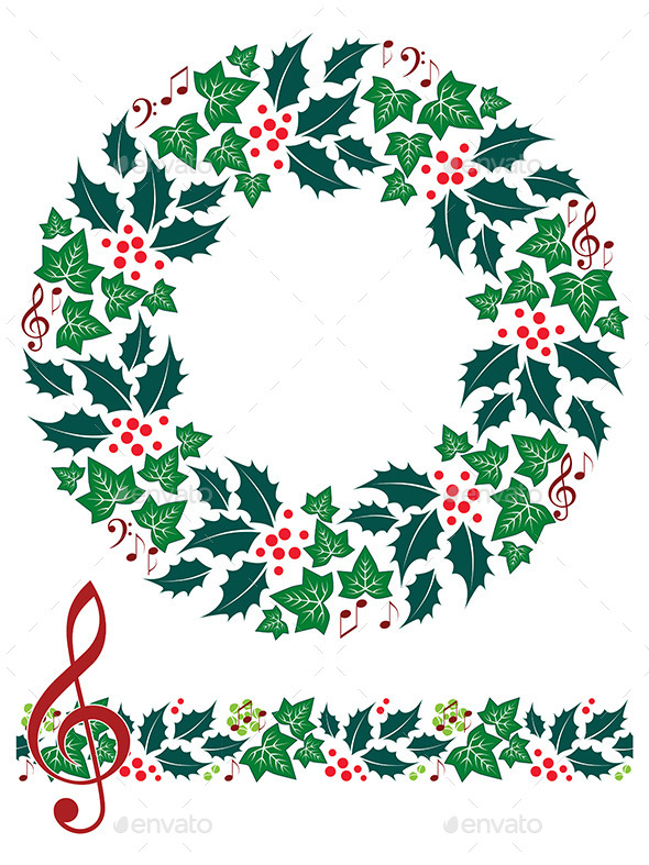 590x787 Christmas Music Wreath And Seamless Border By Artyzan Graphicriver