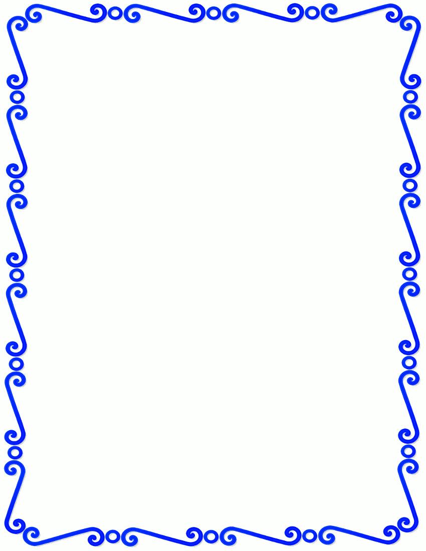 850x1100 Blue Ribbon Border Clip Art