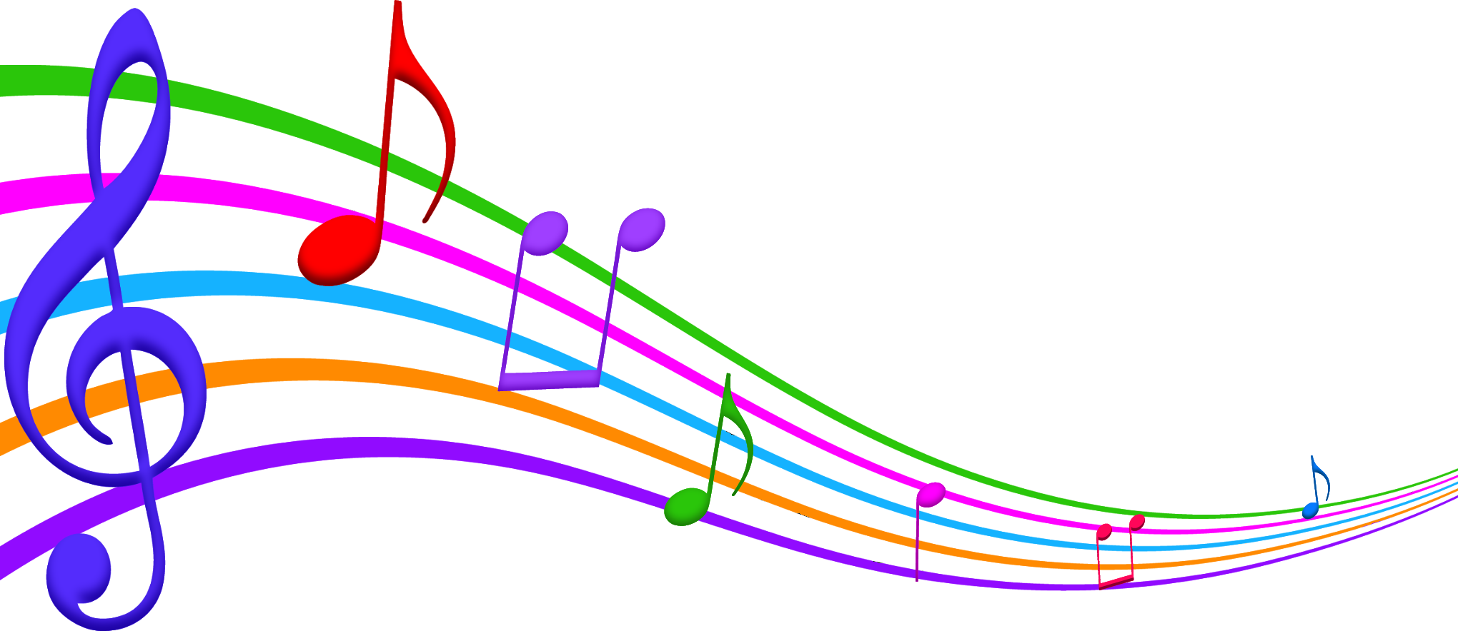 2040x884 Free Colorful Music Notes Clipart Image