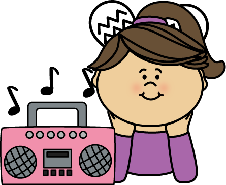 445x364 Girl Listening To Music Clip Art