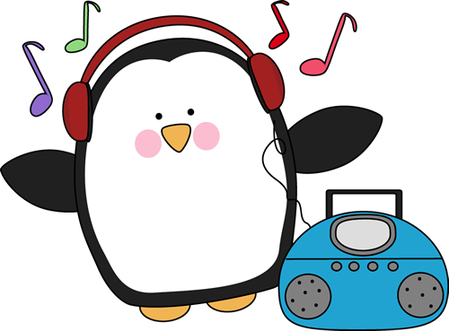 500x369 Penguin Listening to Music Clip Art