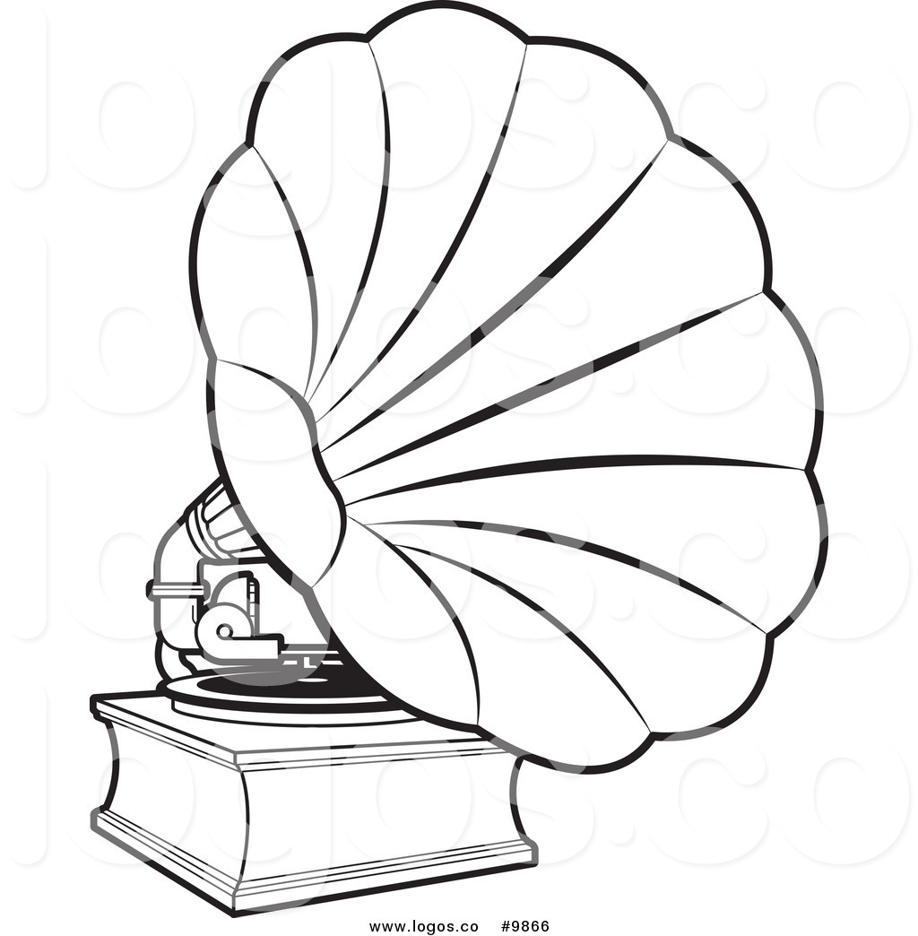 1024x1044 Royalty Free Clip Art Vector Black And White Gramophone Music Logo