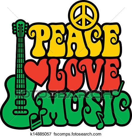 450x466 Clip Art Of Reggae Peace Love Music K14885057