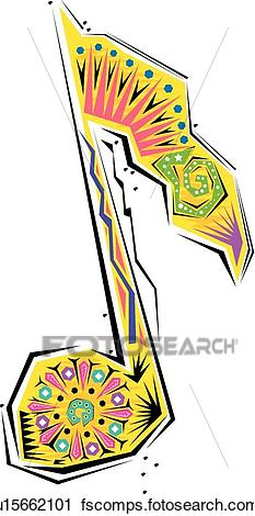 233x470 Clipart Of Fiesta Music Note U15662101