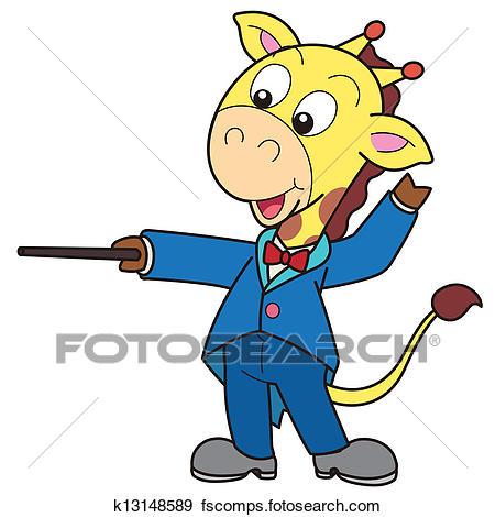 450x470 Clip Art Of Cartoon Giraffe Music Conductor K13148589