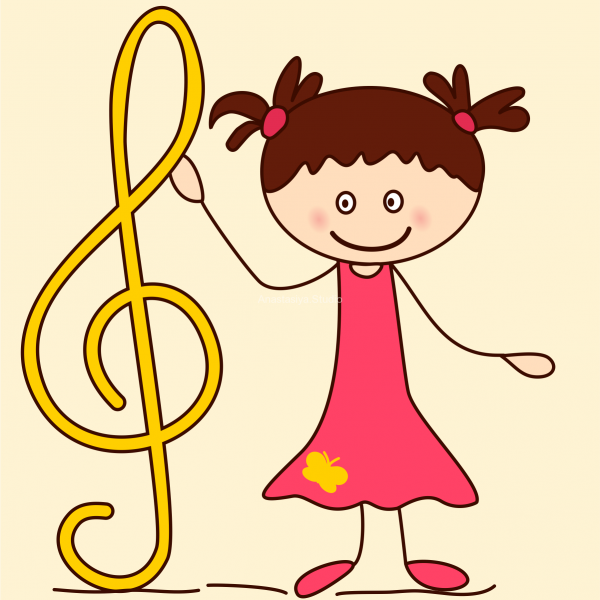 600x600 Kids With Music Notes And Symbols Doodle Clipart