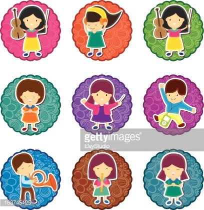408x419 Music Kids Round Label Premium Clipart