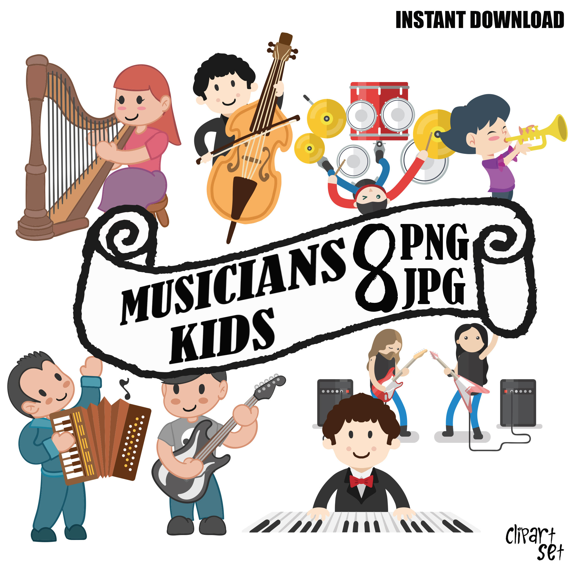 2362x2362 Set Musicians Kids Clipart Commercial Use, Music Kids Vector