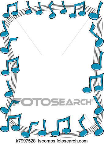 340x470 Clip Art Of Music Note Border K7997528
