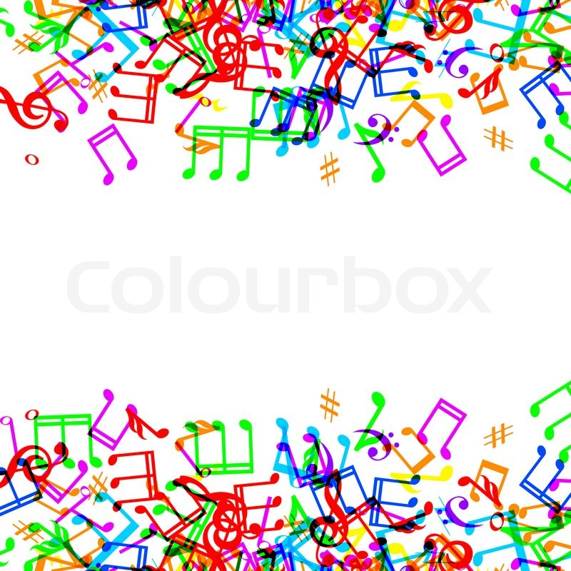800x800 Colorful Music Notes Border Frame On White Background Stock