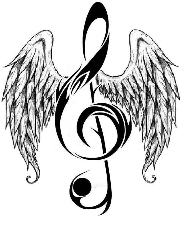 660x768 Music Notes Hearts And Rose Musicnote With Angelwings (Large