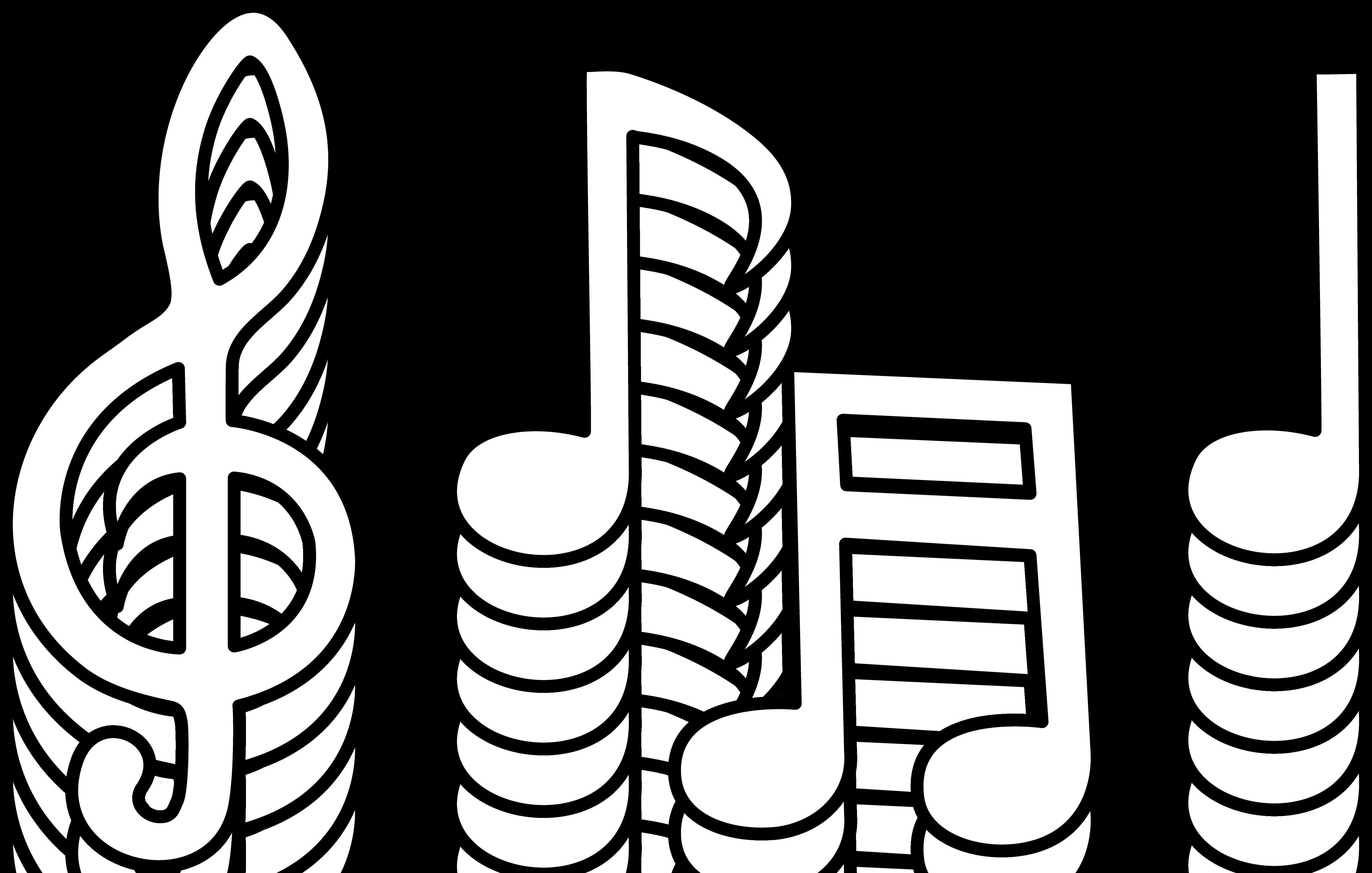 5355x3407 Musical Notes Line Art