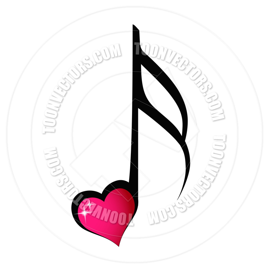 940x940 Music Note With Shiny Heart By Pixxart Toon Vectors Eps