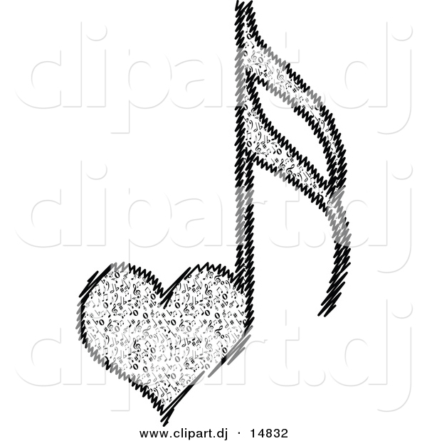 600x620 Vector Clipart Of A Love Heart Music Notes By Andrei Marincas