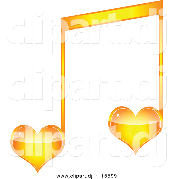 600x620 Vector Clipart Of A Orange Love Heart Music Note By Andrei