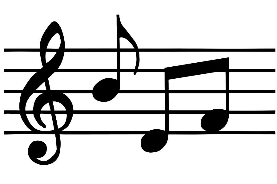 900x599 Free Clipart Music Notes Black White