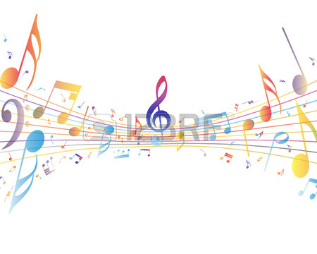 450x360 Musical Design Elements From Music Staff With Treble Clef