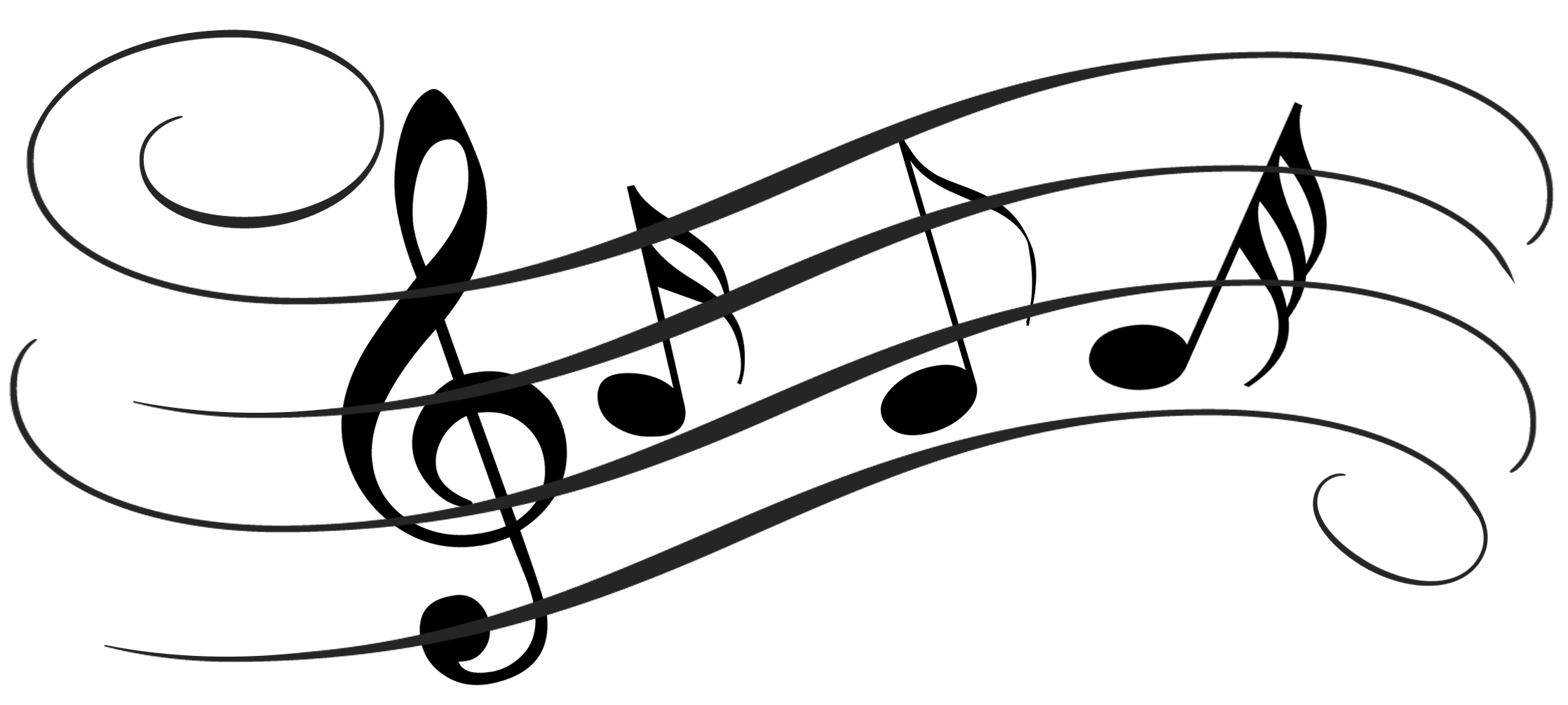 2236x1006 Music Notes On Staff Clipart