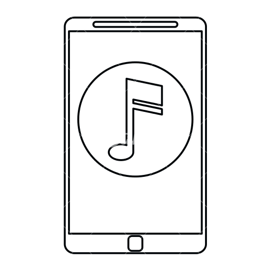 550x550 Smartphone With Music Note Outline