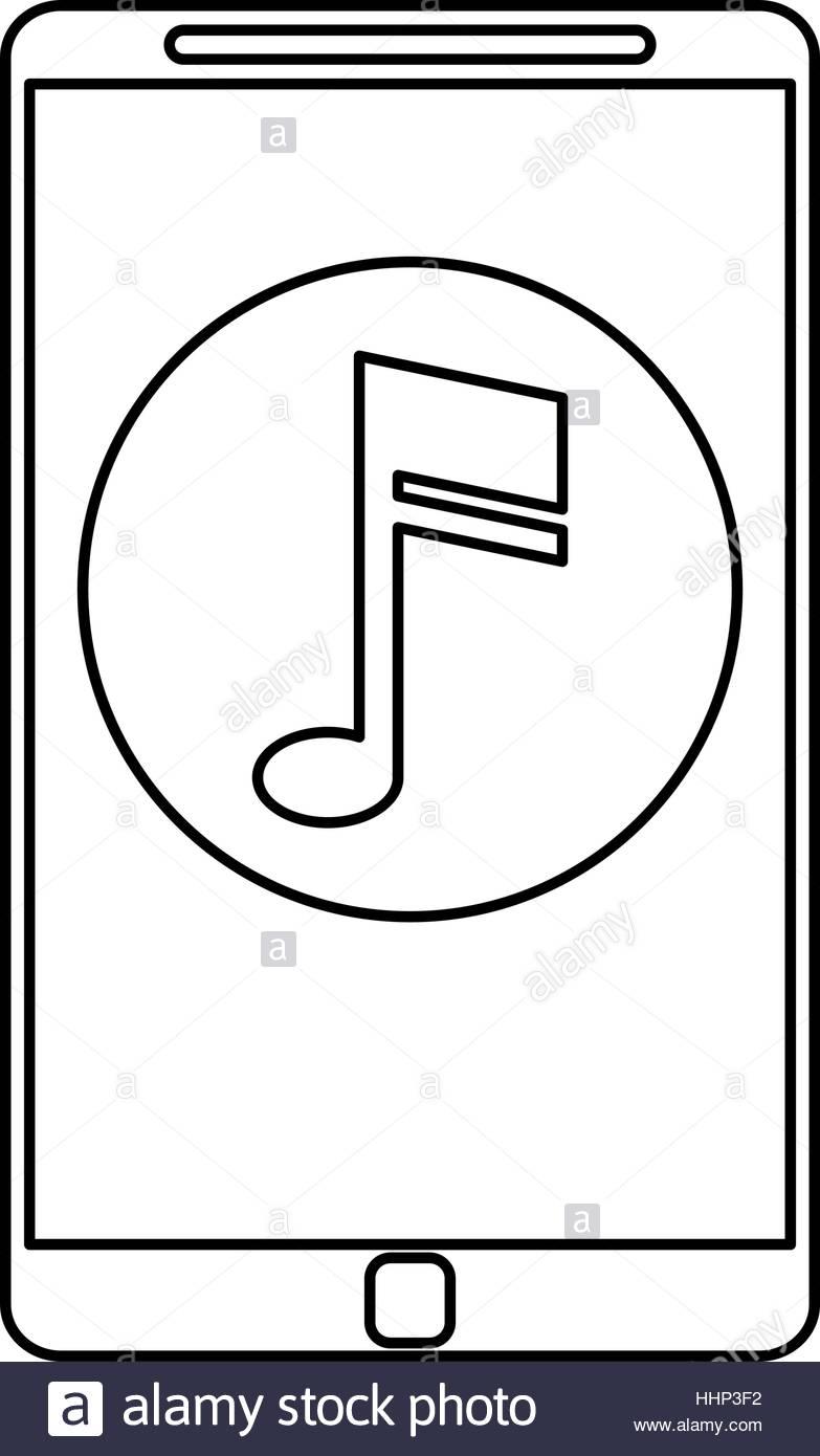 783x1390 Smartphone Music Note Digital App Outline Stock Vector Art
