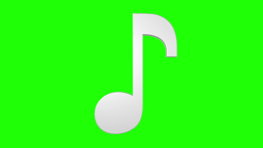 852x480 Musical Note Rotating Loop 3d Green Screen White Silver Stock