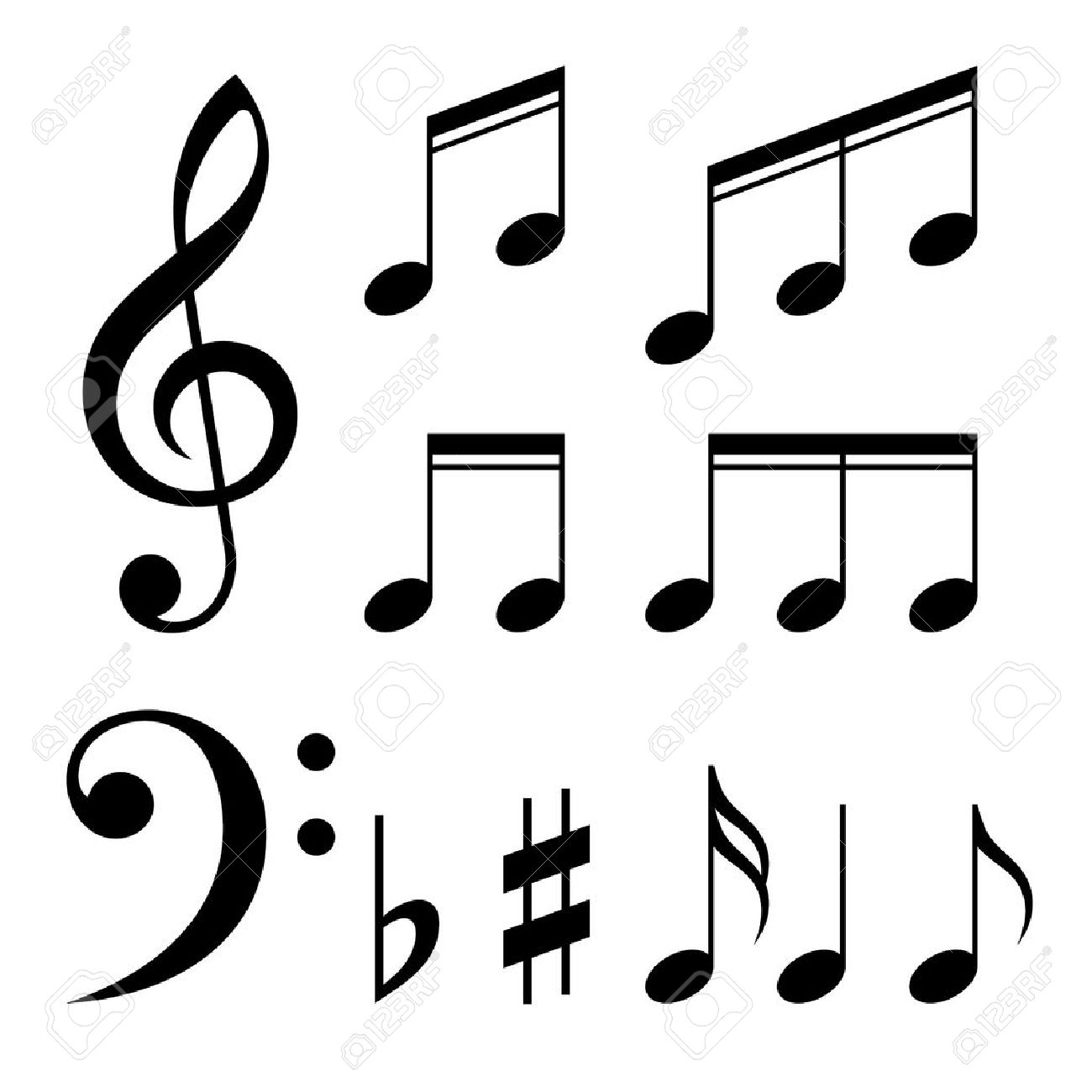 Music notes black and white free download best music notes black 1300x1300 set of music notes vector black and white silhouettes royalty buycottarizona Image collections