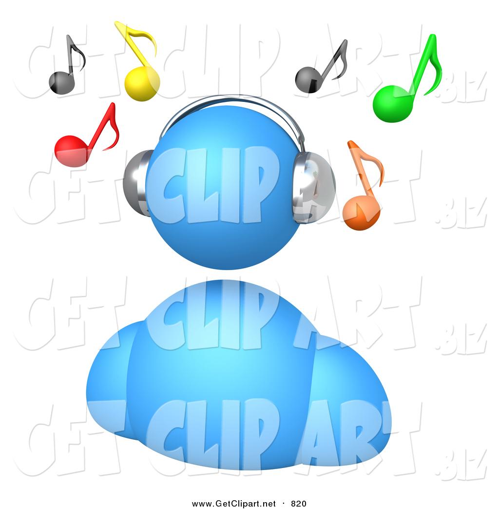 1024x1044 Clip Art of a 3d Blue Avatar Wearing Chrome Headphones and