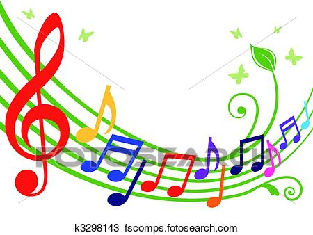 450x338 Clipart Of Colorful Musical Notes K3298143