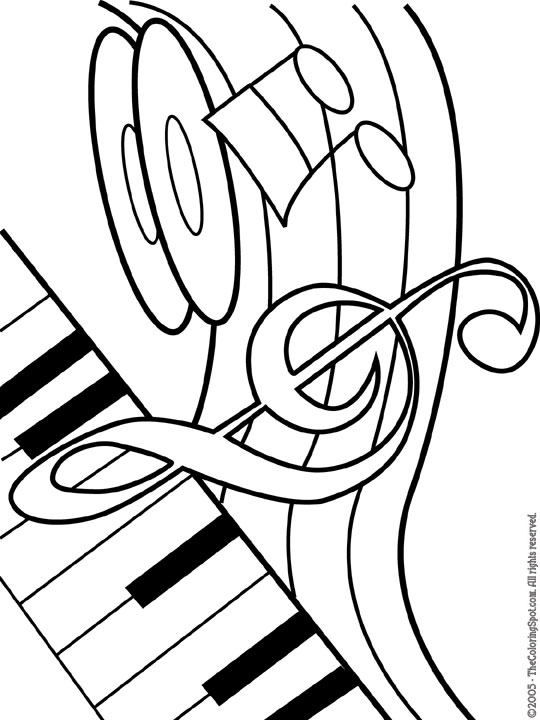540x720 Musical Coloring Pages Piano Amp Music Note
