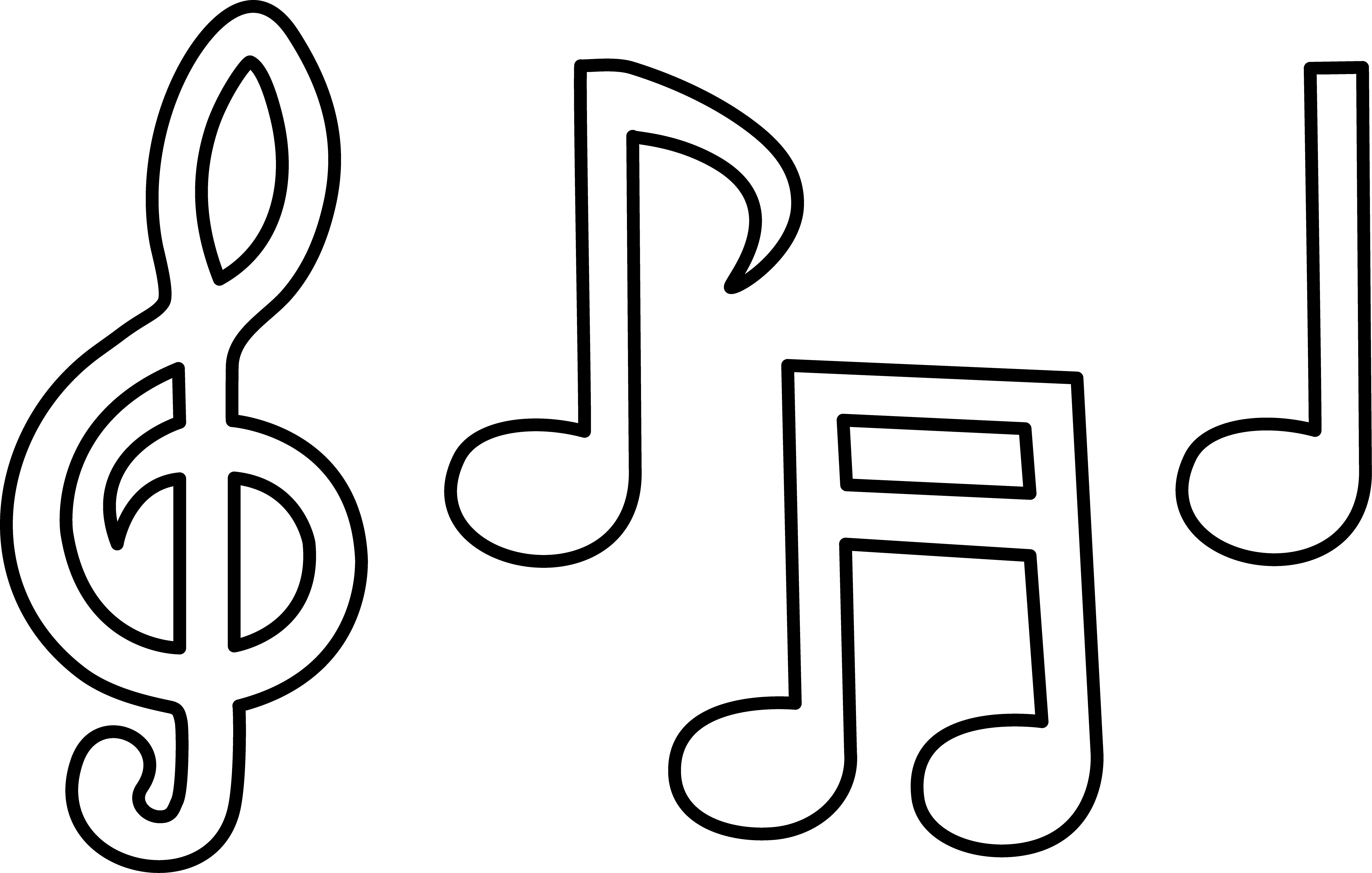 5355x3407 Music Notes Clipart Coloring Page