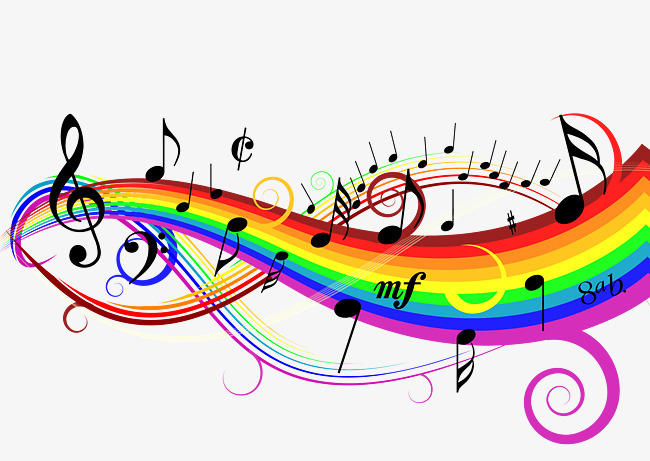 650x461 Rainbow Music Notes Vector Lines Material, Vector Material, Vector
