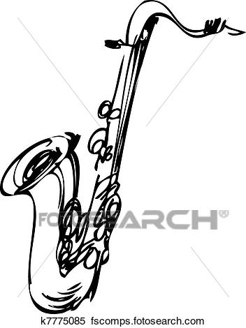 352x470 Clipart Of Sketch Brass Musical Instrument Saxophone Tenor