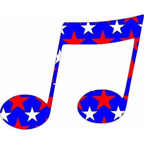 500x500 5in X 4in Red White Blue Stars Music Double Eighth Note Bumper