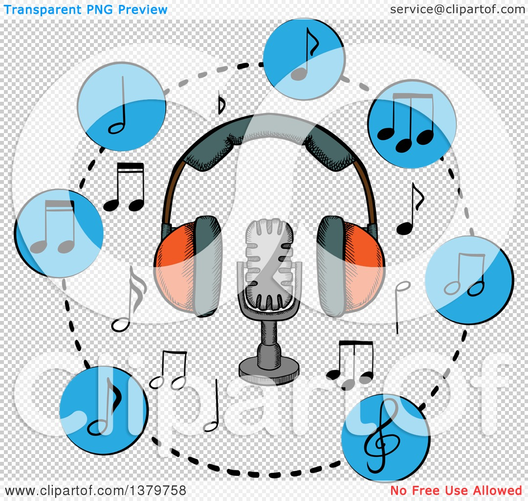 1080x1024 Clipart Of A Sketched Microphone, Headphones And Music Notes