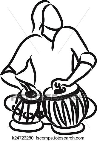 325x470 Clipart Of Indian Musician Playing Tabla K24723280