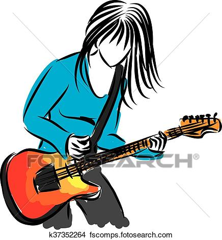 436x470 Clipart Of Artist Singer Woman With Guitar Ill K37352264