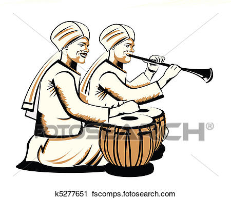 450x388 Clipart Of Indian Musical Performers K5277651