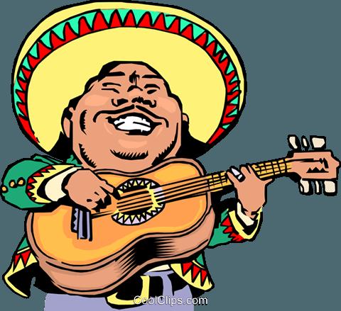 480x439 Cartoon Mexican Musician Royalty Free Vector Clip Art Illustration