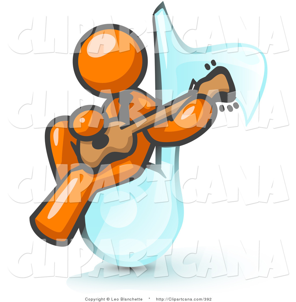 1024x1044 Vector Clip Art Of An Orange Muscian Man Sitting On A Music Note