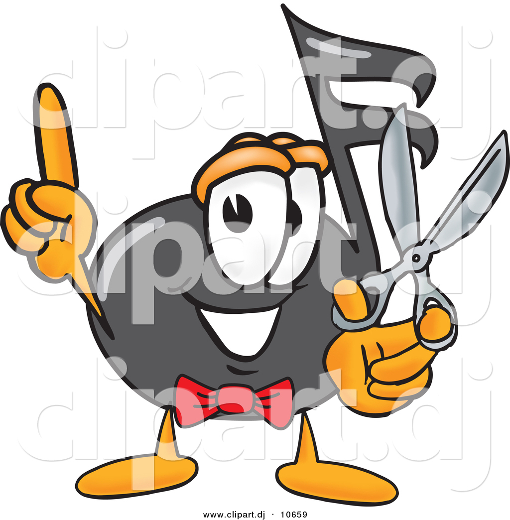 1024x1044 Vector Of A Cartoon Music Note Holding A Pair Of Scissors By
