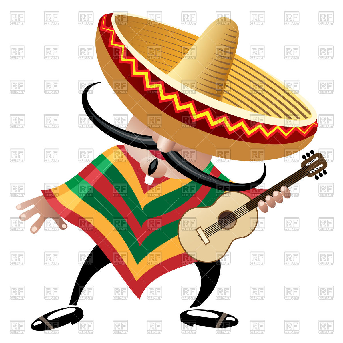 1200x1200 Cartoon Mexican Musician In Sombrero With Guitar Royalty Free