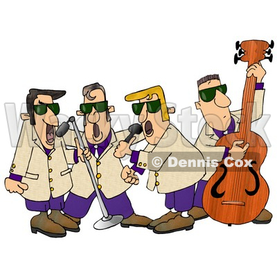 400x400 Playing 1950's Style Blues Music Clipart Illustration Djart