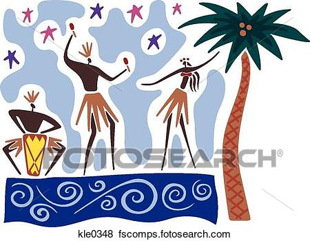 450x350 Stock Illustration Of Hawaiian Dancers And Musicians Performing