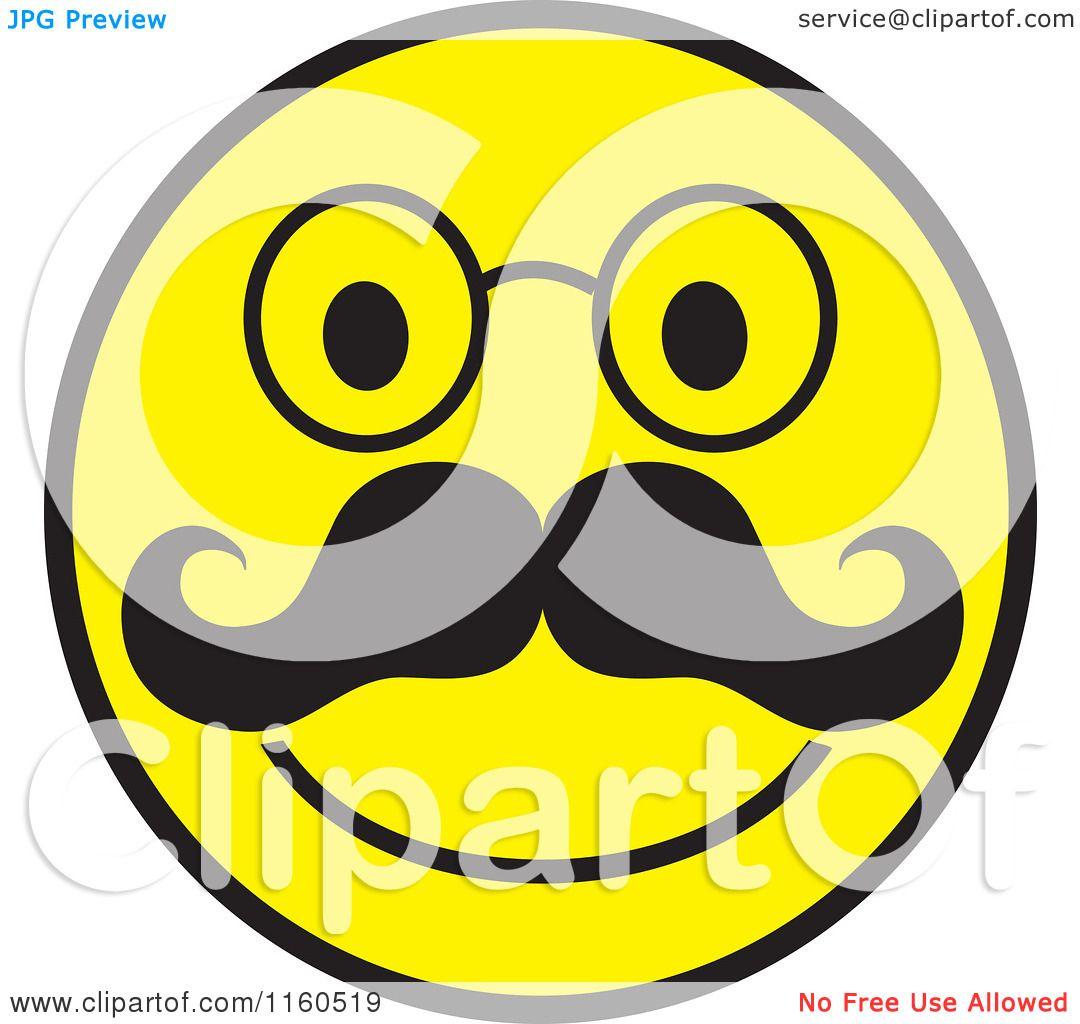 1080x1024 Cartoon Of A Happy Emoticon Smiley With A Mustache