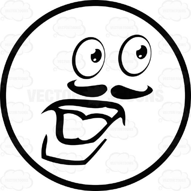 640x640 Male Large Eyed Black And White Smiley Face Emoticon With Mustache