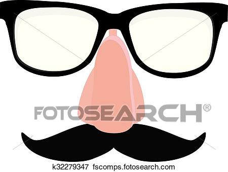 450x339 Clip Art Of Disguise Glasses, Nose And Mustache K32279347