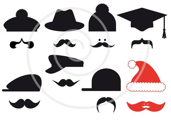 570x399 16 Mustache Silhouettes With Hats Digital Clip Art Door Illustree