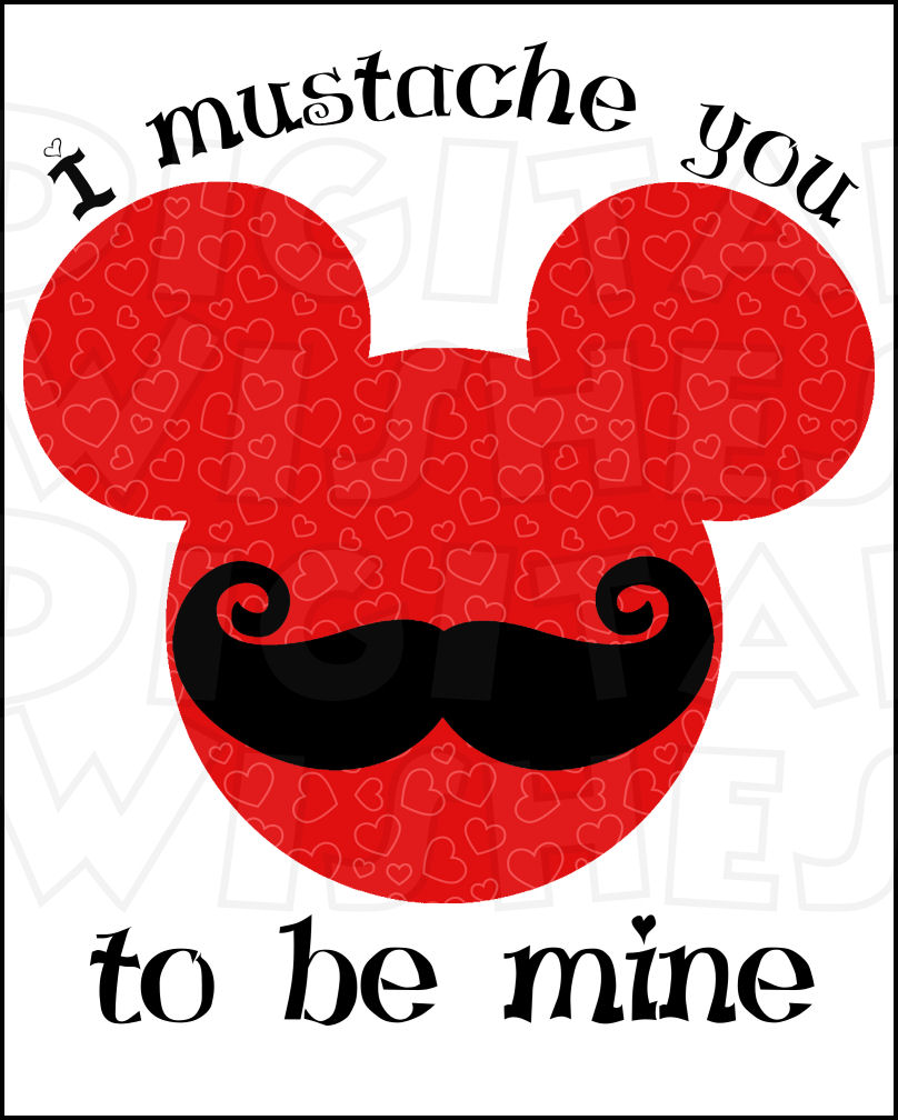 808x1008 Valentine Mickey Mouse With Mustache Red Instant Download Digital