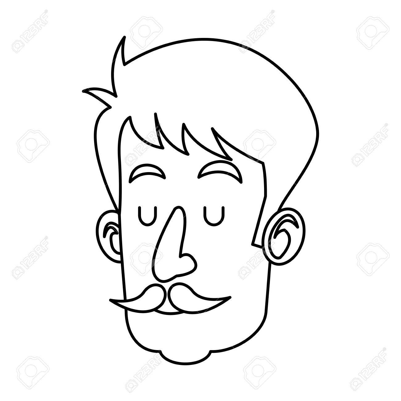 1300x1300 Head Man With Mustache Close Eyes Outline Vector Illustration